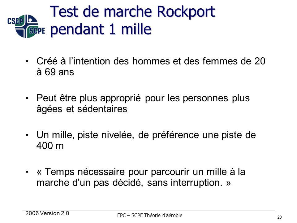 2006 Version 2.0 20 Test de marche Rockport pendant 1 mille Créé à lintention des hommes et des femmes de 20 à 69 ans Peut être plus approprié pour le