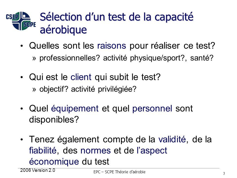 2006 Version 2.0 3 Sélection dun test de la capacité aérobique Quelles sont les raisons pour réaliser ce test? »professionnelles? activité physique/sp