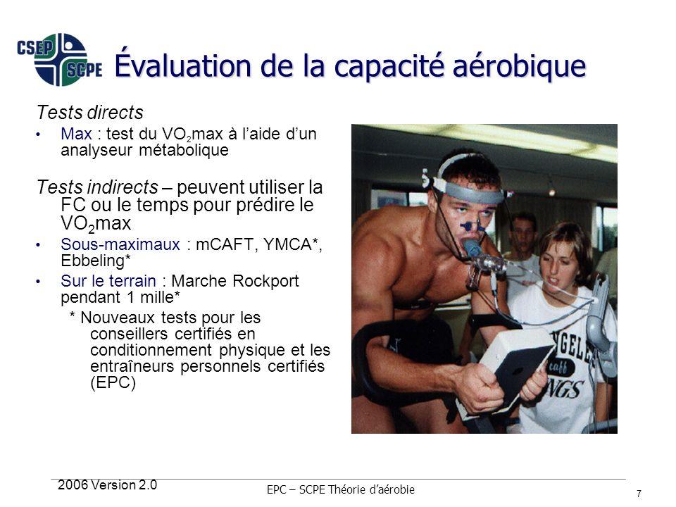 2006 Version 2.0 7 Évaluation de la capacité aérobique Tests directs Max : test du VO 2 max à laide dun analyseur métabolique Tests indirects – peuven