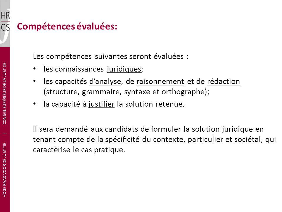 Compétences évaluées: Les compétences suivantes seront évaluées : les connaissances juridiques; les capacités danalyse, de raisonnement et de rédactio
