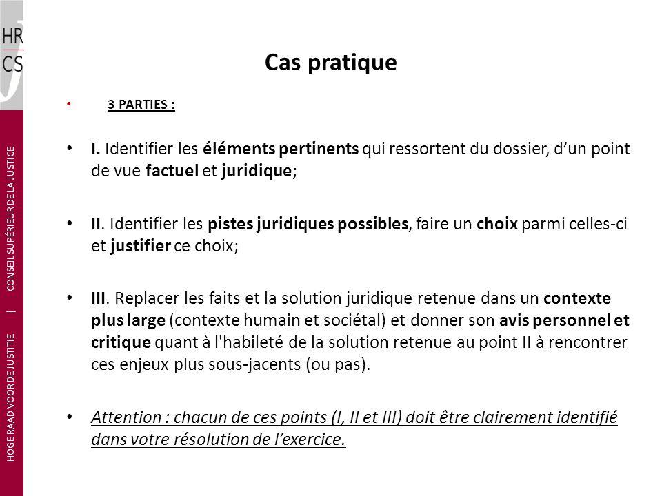 Cas pratique 3 PARTIES : I. Identifier les éléments pertinents qui ressortent du dossier, dun point de vue factuel et juridique; II. Identifier les pi