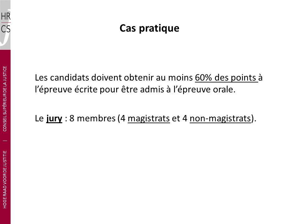 Cas pratique Les candidats doivent obtenir au moins 60% des points à lépreuve écrite pour être admis à lépreuve orale. Le jury : 8 membres (4 magistra
