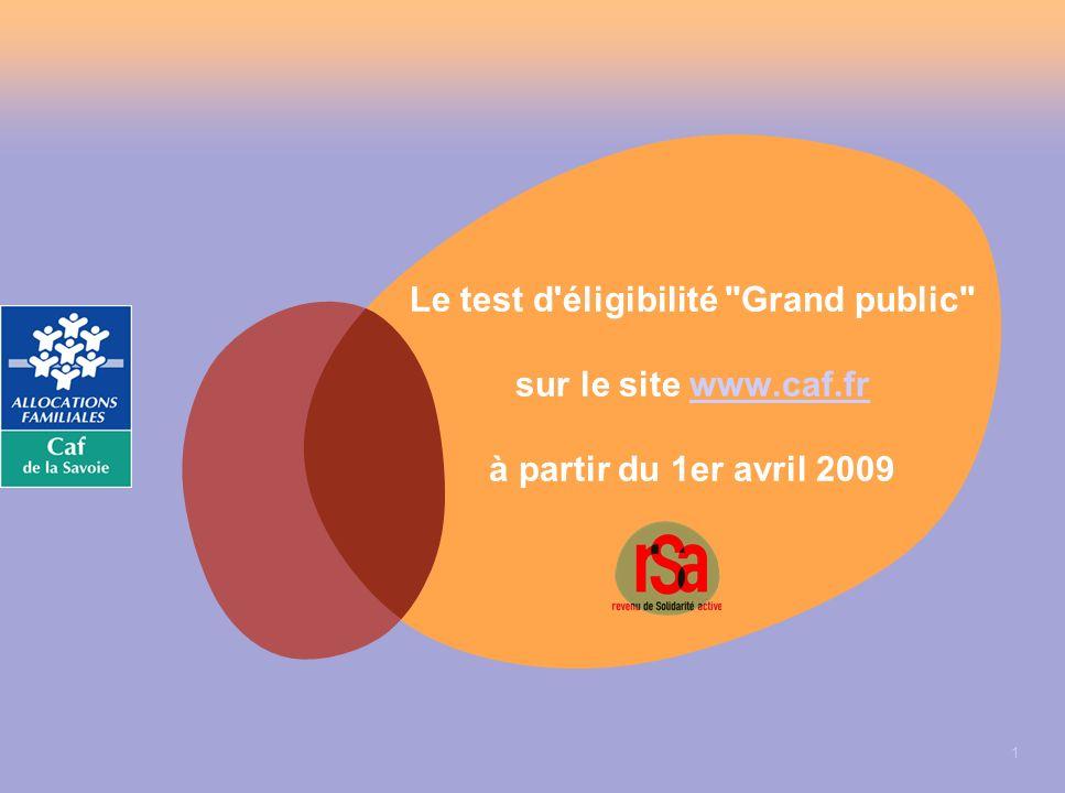 1 Le test d éligibilité Grand public sur le site www.caf.fr à partir du 1er avril 2009www.caf.fr