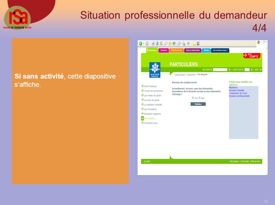 25 Situation professionnelle du demandeur 4/4 Si sans activité, cette diapositive saffiche.