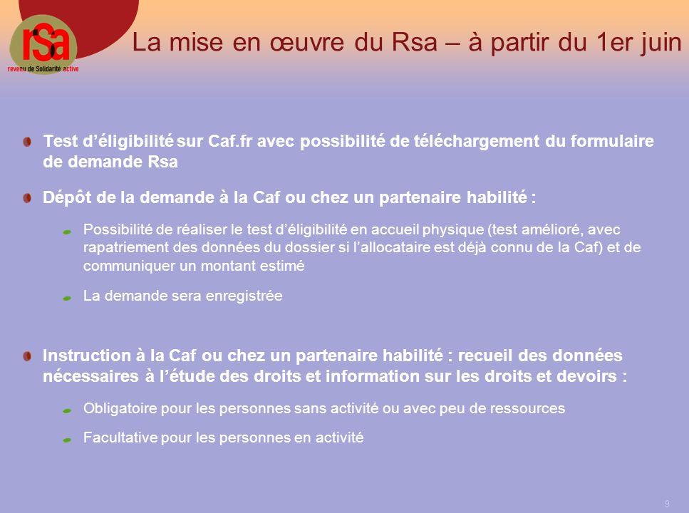 9 La mise en œuvre du Rsa – à partir du 1er juin Test déligibilité sur Caf.fr avec possibilité de téléchargement du formulaire de demande Rsa Dépôt de la demande à la Caf ou chez un partenaire habilité : Possibilité de réaliser le test déligibilité en accueil physique (test amélioré, avec rapatriement des données du dossier si lallocataire est déjà connu de la Caf) et de communiquer un montant estimé La demande sera enregistrée Instruction à la Caf ou chez un partenaire habilité : recueil des données nécessaires à létude des droits et information sur les droits et devoirs : Obligatoire pour les personnes sans activité ou avec peu de ressources Facultative pour les personnes en activité