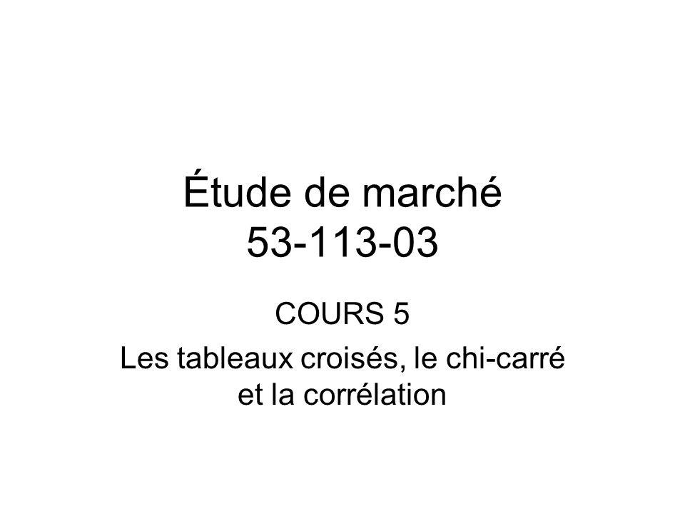 Étude de marché 53-113-03 COURS 5 Les tableaux croisés, le chi-carré et la corrélation