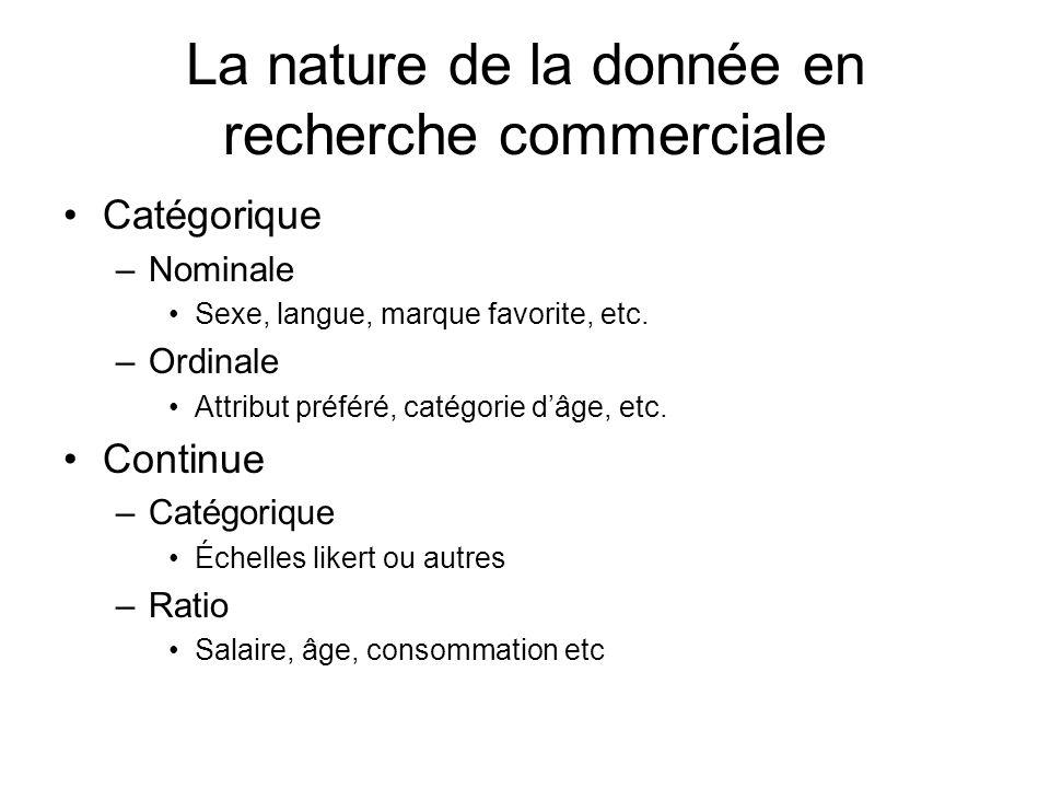 La nature de la donnée en recherche commerciale Catégorique –Nominale Sexe, langue, marque favorite, etc. –Ordinale Attribut préféré, catégorie dâge,