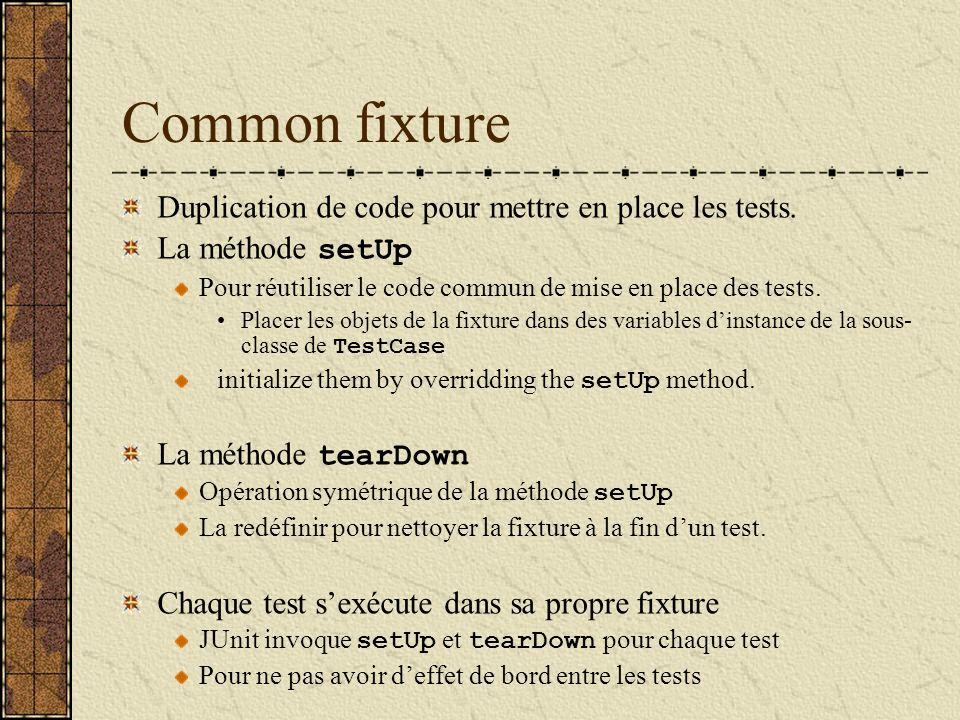 Common fixture Duplication de code pour mettre en place les tests. La méthode setUp Pour réutiliser le code commun de mise en place des tests. Placer