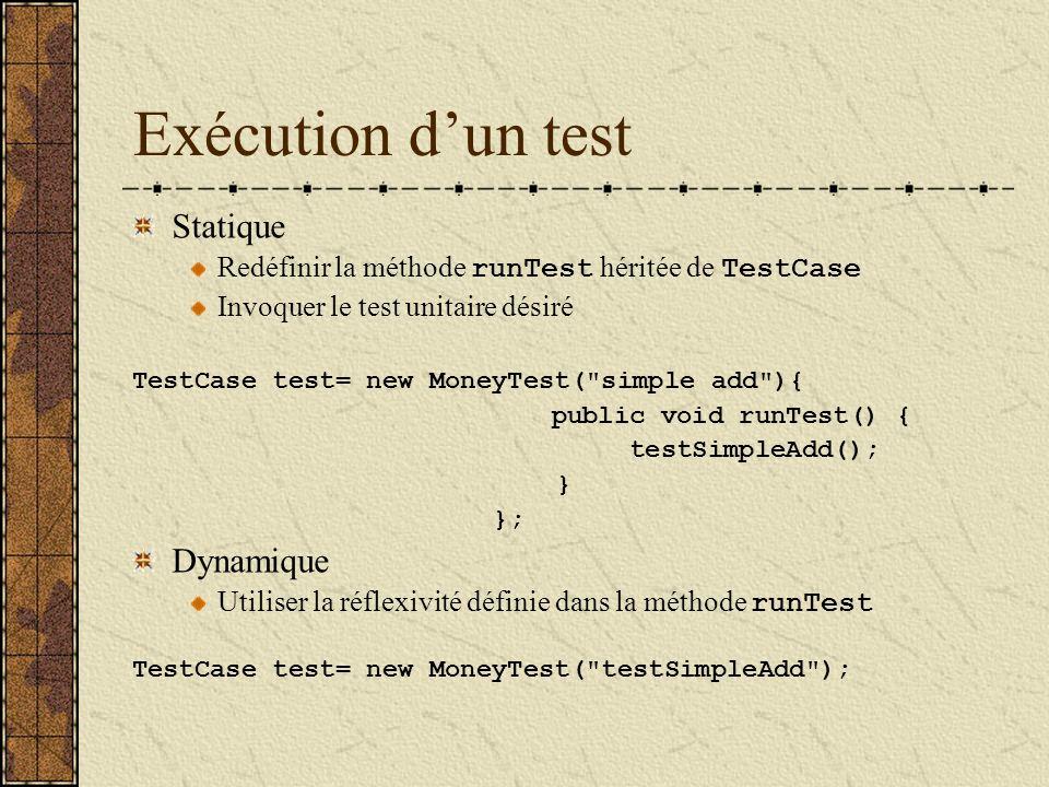 Exécution dun test Statique Redéfinir la méthode runTest héritée de TestCase Invoquer le test unitaire désiré TestCase test= new MoneyTest( simple add ){ public void runTest() { testSimpleAdd(); } }; Dynamique Utiliser la réflexivité définie dans la méthode runTest TestCase test= new MoneyTest( testSimpleAdd );