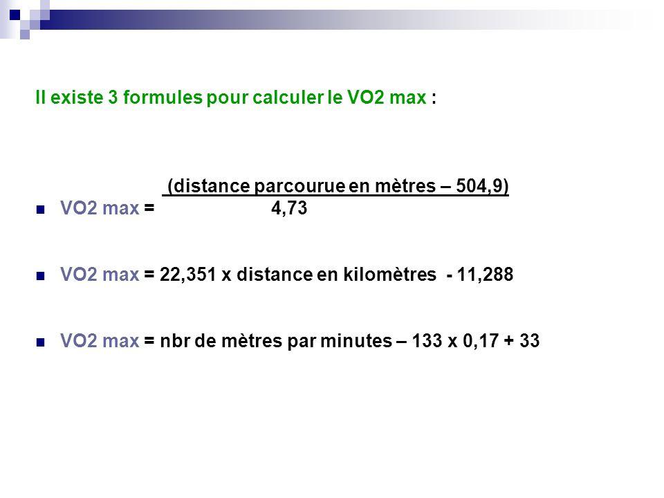 Il existe 3 formules pour calculer le VO2 max : (distance parcourue en mètres – 504,9) VO2 max = 4,73 VO2 max = 22,351 x distance en kilomètres - 11,2