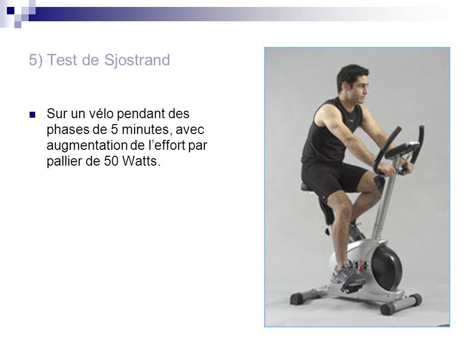 5) Test de Sjostrand Sur un vélo pendant des phases de 5 minutes, avec augmentation de leffort par pallier de 50 Watts.