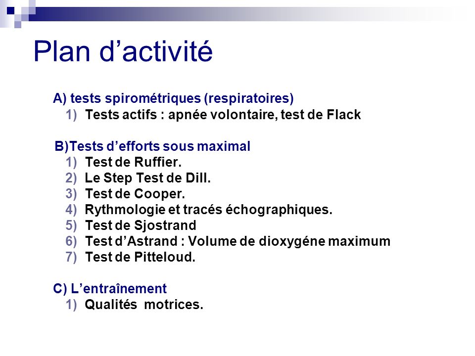 A ) tests spirométriques (respiratoires) VEMS : Volume Expiratoire Maximum par Seconde.