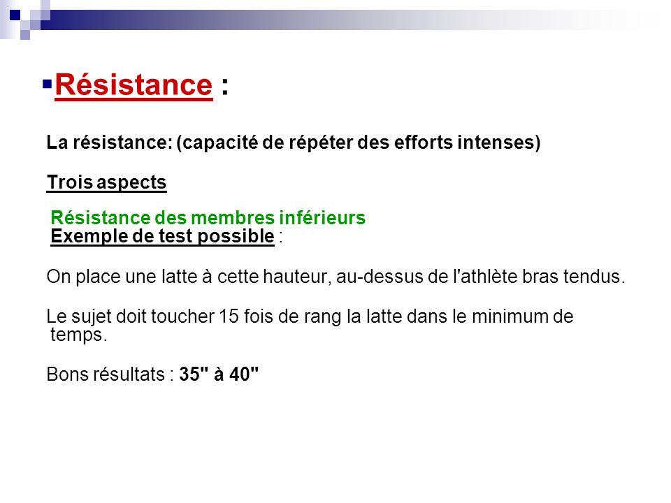 Résistance : La résistance: (capacité de répéter des efforts intenses) Trois aspects Résistance des membres inférieurs Exemple de test possible : On p