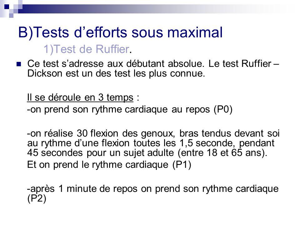 B)Tests defforts sous maximal 1)Test de Ruffier. Ce test sadresse aux débutant absolue. Le test Ruffier – Dickson est un des test les plus connue. Il