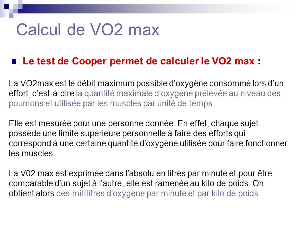 Il existe 3 formules pour calculer le VO2 max : (distance parcourue en mètres – 504,9) VO2 max = 4,73 VO2 max = 22,351 x distance en kilomètres - 11,288 VO2 max = nbr de mètres par minutes – 133 x 0,17 + 33