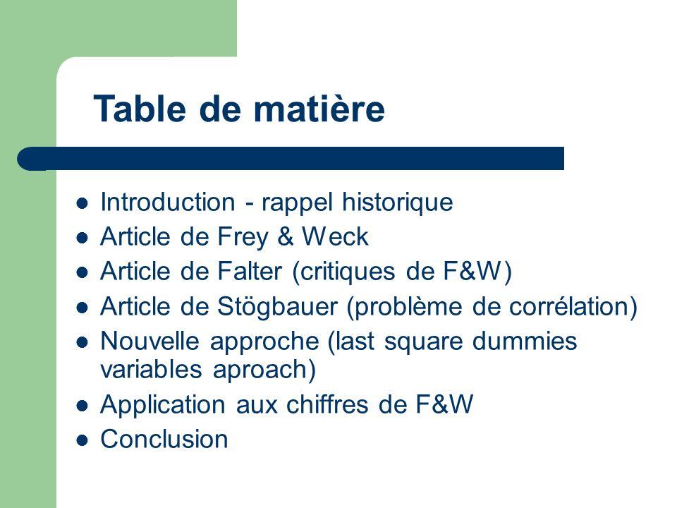 Introduction - rappel historique Article de Frey & Weck Article de Falter (critiques de F&W) Article de Stögbauer (problème de corrélation) Nouvelle approche (last square dummies variables aproach) Application aux chiffres de F&W Conclusion Table de matière