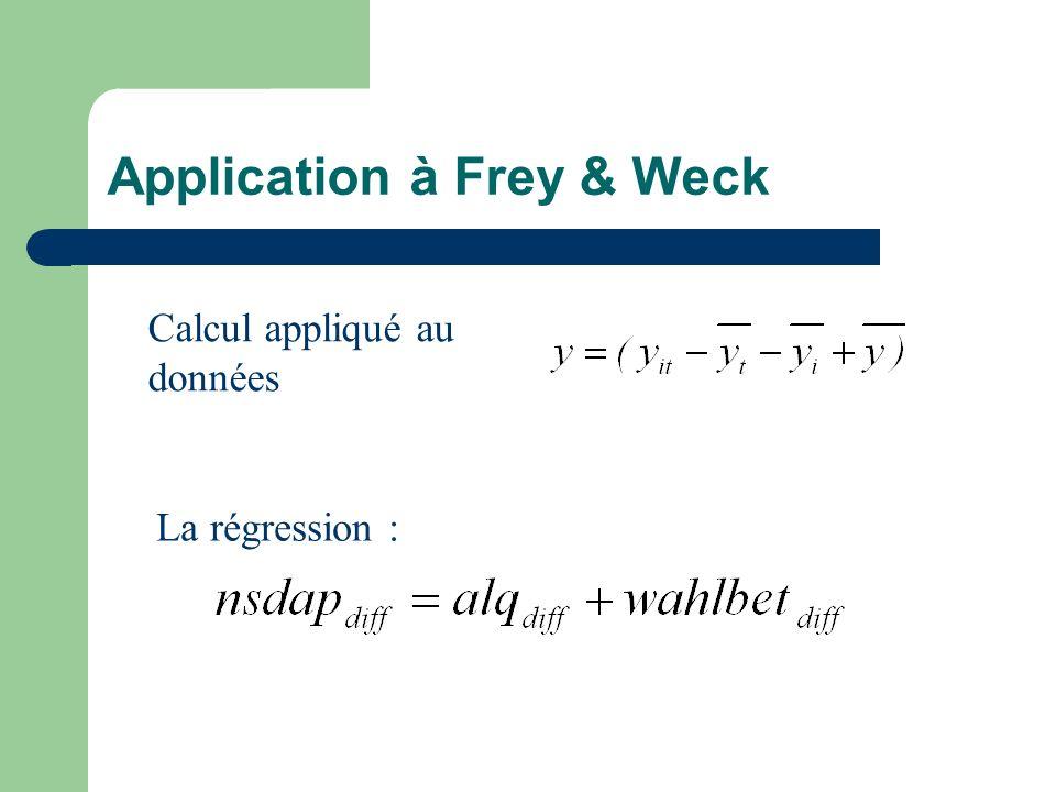 Application à Frey & Weck Calcul appliqué au données La régression :