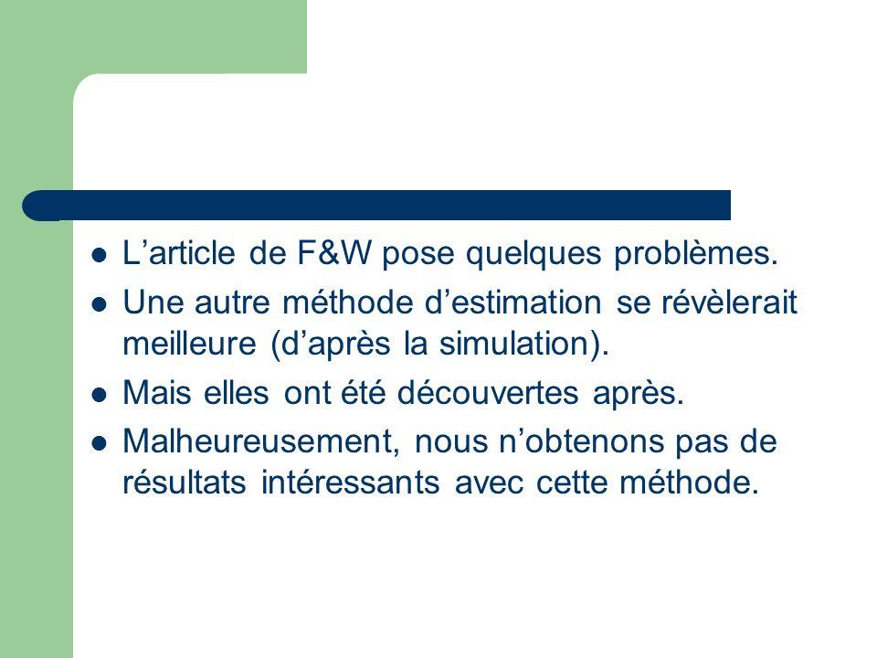 Larticle de F&W pose quelques problèmes.