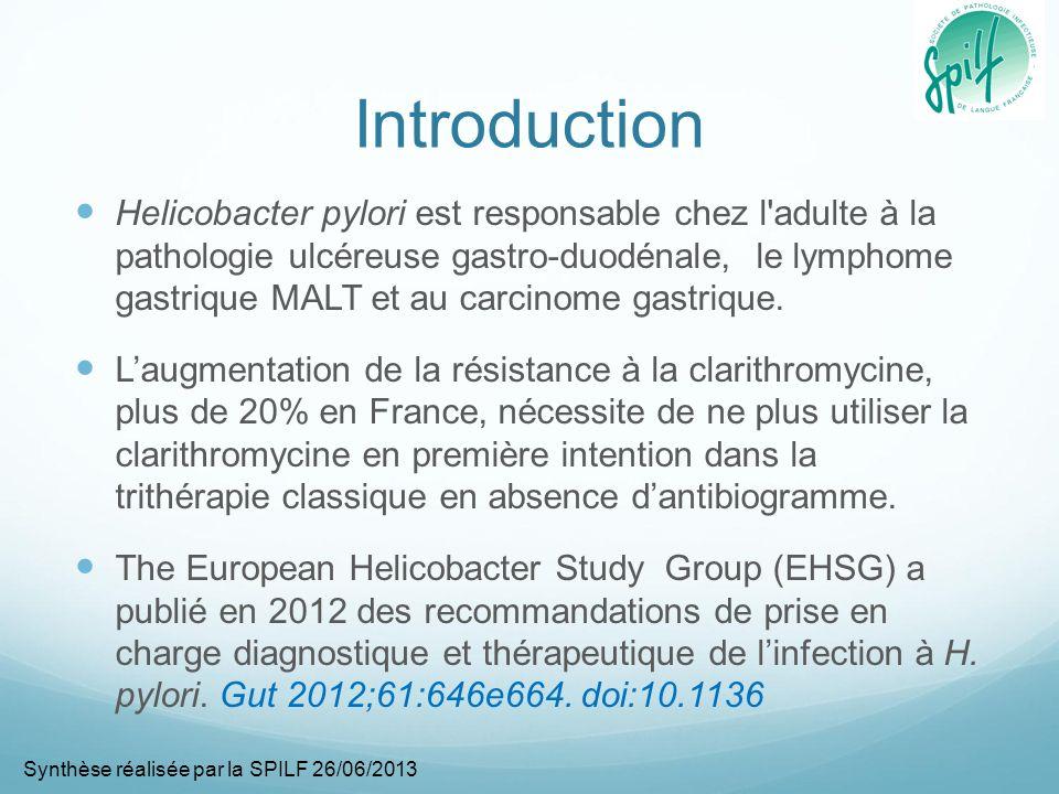 Introduction Helicobacter pylori est responsable chez l adulte à la pathologie ulcéreuse gastro-duodénale, le lymphome gastrique MALT et au carcinome gastrique.