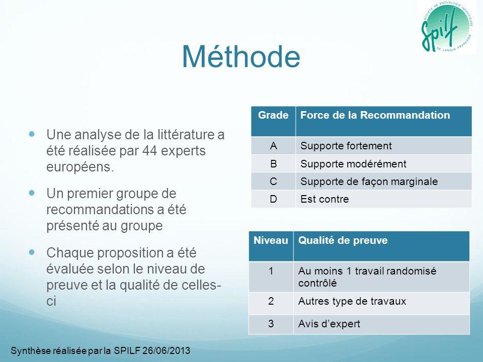 Méthode Une analyse de la littérature a été réalisée par 44 experts européens.