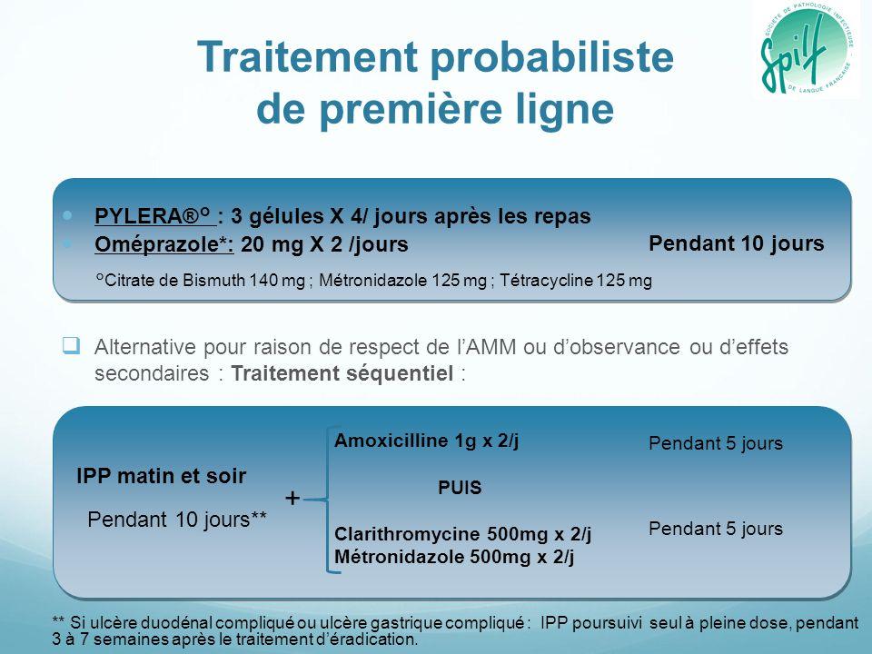 Traitement probabiliste de première ligne PYLERA®° : 3 gélules X 4/ jours après les repas Oméprazole*: 20 mg X 2 /jours Alternative pour raison de respect de lAMM ou dobservance ou deffets secondaires : Traitement séquentiel : Pendant 10 jours Pendant 10 jours** Pendant 5 jours ** Si ulcère duodénal compliqué ou ulcère gastrique compliqué : IPP poursuivi seul à pleine dose, pendant 3 à 7 semaines après le traitement déradication.