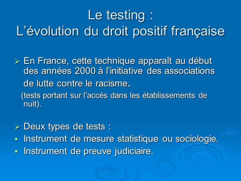 Le testing : Lévolution du droit positif française En France, cette technique apparaît au début des années 2000 à linitiative des associations de lutte contre le racisme.