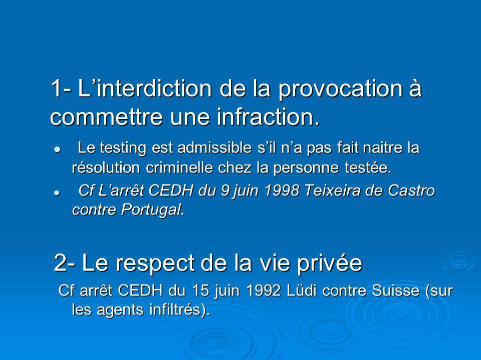 1- Linterdiction de la provocation à commettre une infraction.