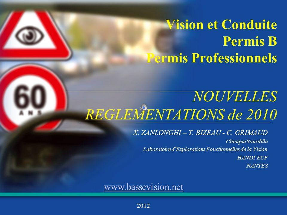 Vision et Conduite Permis B Permis Professionnels NOUVELLES REGLEMENTATIONS de 2010 X. ZANLONGHI – T. BIZEAU - C. GRIMAUD Clinique Sourdille Laboratoi