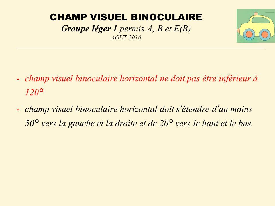 CHAMP VISUEL BINOCULAIRE Groupe léger 1 permis A, B et E(B) AOUT 2010 -champ visuel binoculaire horizontal ne doit pas être inférieur à 120° -champ visuel binoculaire horizontal doit sétendre dau moins 50° vers la gauche et la droite et de 20° vers le haut et le bas.