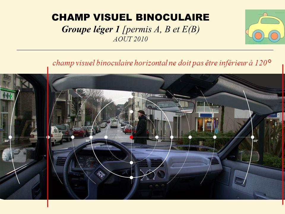 CHAMP VISUEL BINOCULAIRE Groupe léger 1 [permis A, B et E(B) AOUT 2010 champ visuel binoculaire horizontal ne doit pas être inférieur à 120°