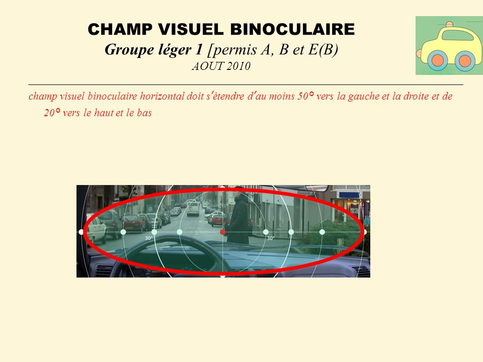 CHAMP VISUEL BINOCULAIRE Groupe léger 1 [permis A, B et E(B) AOUT 2010 champ visuel binoculaire horizontal doit sétendre dau moins 50° vers la gauche et la droite et de 20° vers le haut et le bas