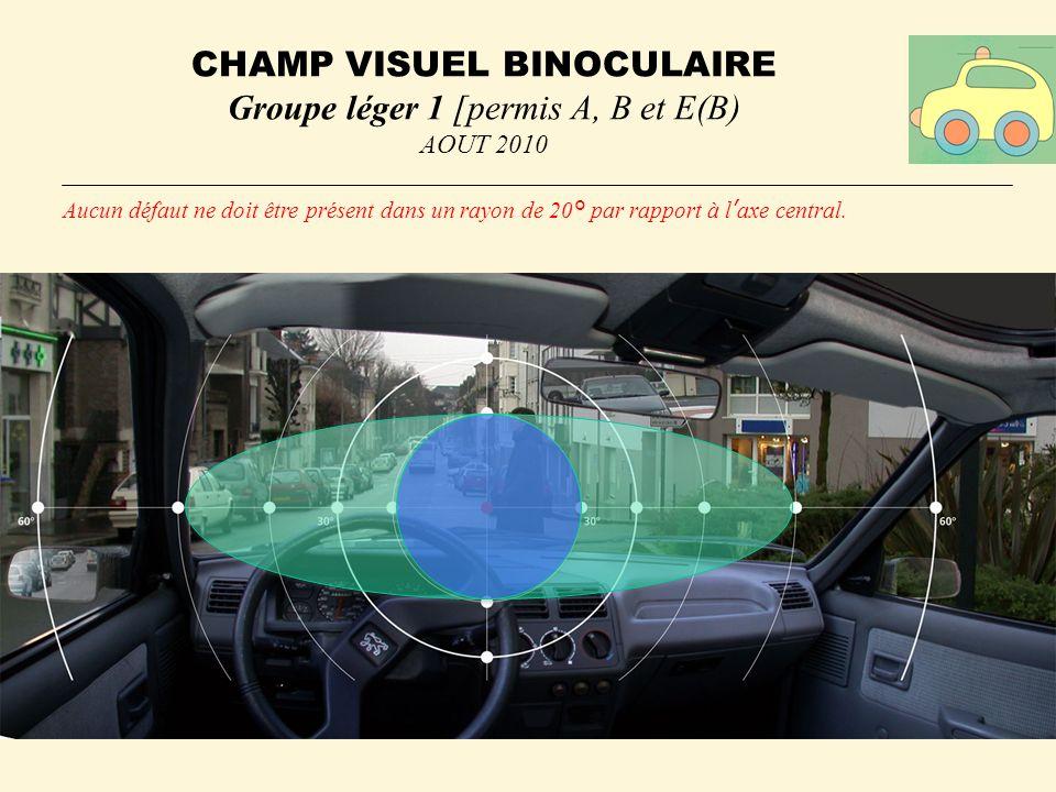 CHAMP VISUEL BINOCULAIRE Groupe léger 1 [permis A, B et E(B) AOUT 2010 Aucun défaut ne doit être présent dans un rayon de 20° par rapport à laxe central.