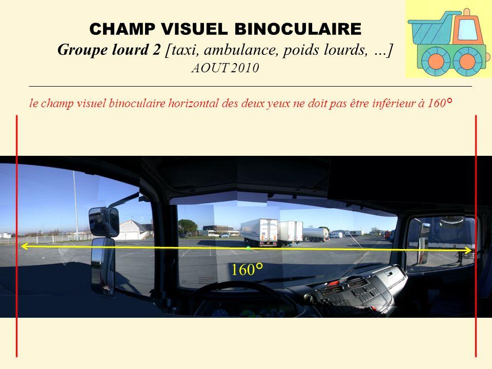CHAMP VISUEL BINOCULAIRE Groupe lourd 2 [taxi, ambulance, poids lourds, …] AOUT 2010 le champ visuel binoculaire horizontal des deux yeux ne doit pas être inférieur à 160° 160°