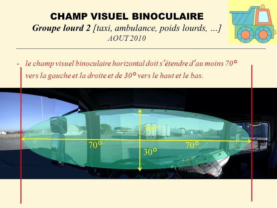 CHAMP VISUEL BINOCULAIRE Groupe lourd 2 [taxi, ambulance, poids lourds, …] AOUT 2010 -le champ visuel binoculaire horizontal doit sétendre dau moins 70° vers la gauche et la droite et de 30° vers le haut et le bas.