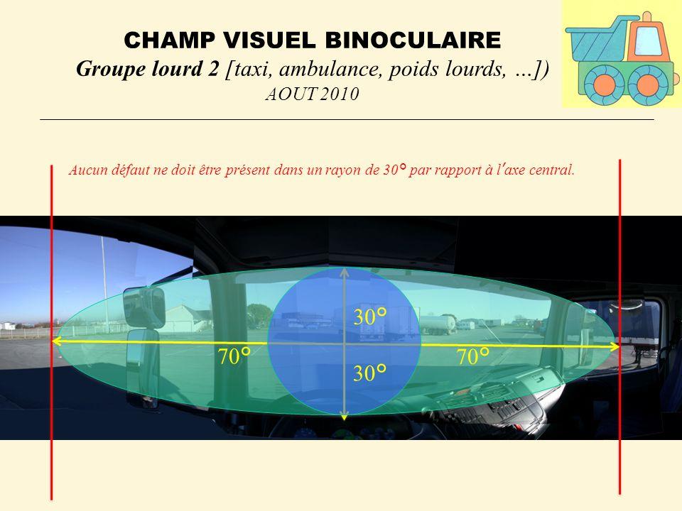 CHAMP VISUEL BINOCULAIRE Groupe lourd 2 [taxi, ambulance, poids lourds, …]) AOUT 2010 Aucun défaut ne doit être présent dans un rayon de 30° par rapport à laxe central.