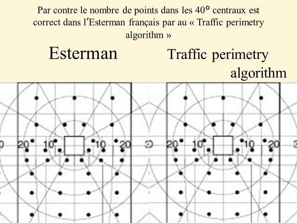 Esterman Traffic perimetry algorithm Par contre le nombre de points dans les 40° centraux est correct dans lEsterman français par au « Traffic perimetry algorithm »