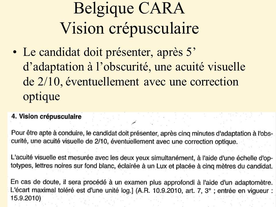 Belgique CARA Vision crépusculaire Le candidat doit présenter, après 5 dadaptation à lobscurité, une acuité visuelle de 2/10, éventuellement avec une