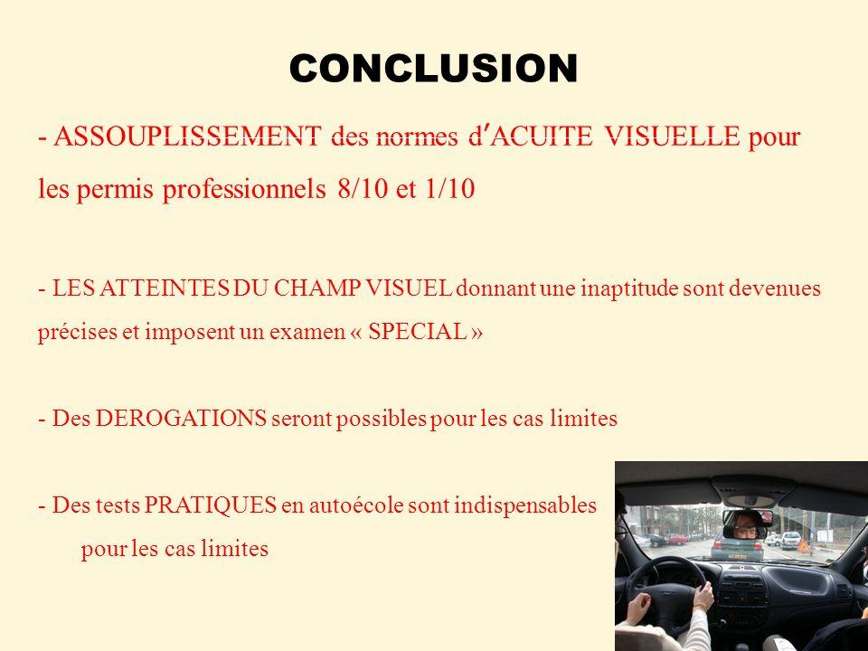 CONCLUSION - ASSOUPLISSEMENT des normes dACUITE VISUELLE pour les permis professionnels 8/10 et 1/10 - LES ATTEINTES DU CHAMP VISUEL donnant une inapt