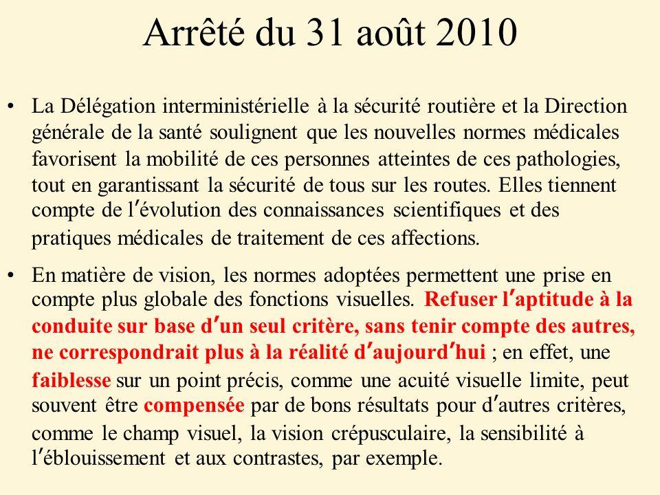 Arrêté du 31 août 2010 La Délégation interministérielle à la sécurité routière et la Direction générale de la santé soulignent que les nouvelles normes médicales favorisent la mobilité de ces personnes atteintes de ces pathologies, tout en garantissant la sécurité de tous sur les routes.