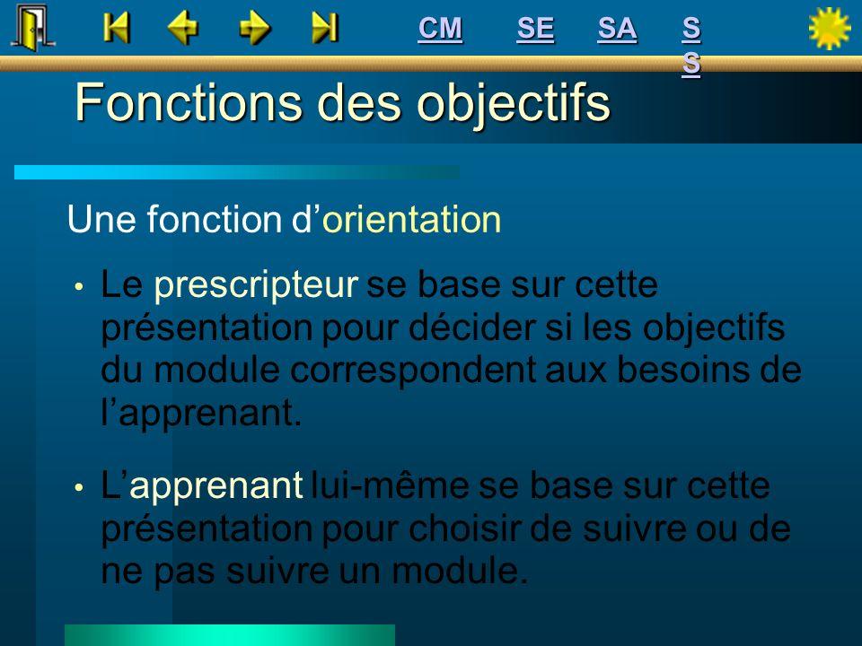 Une fonction dorientation Le prescripteur se base sur cette présentation pour décider si les objectifs du module correspondent aux besoins de lapprena