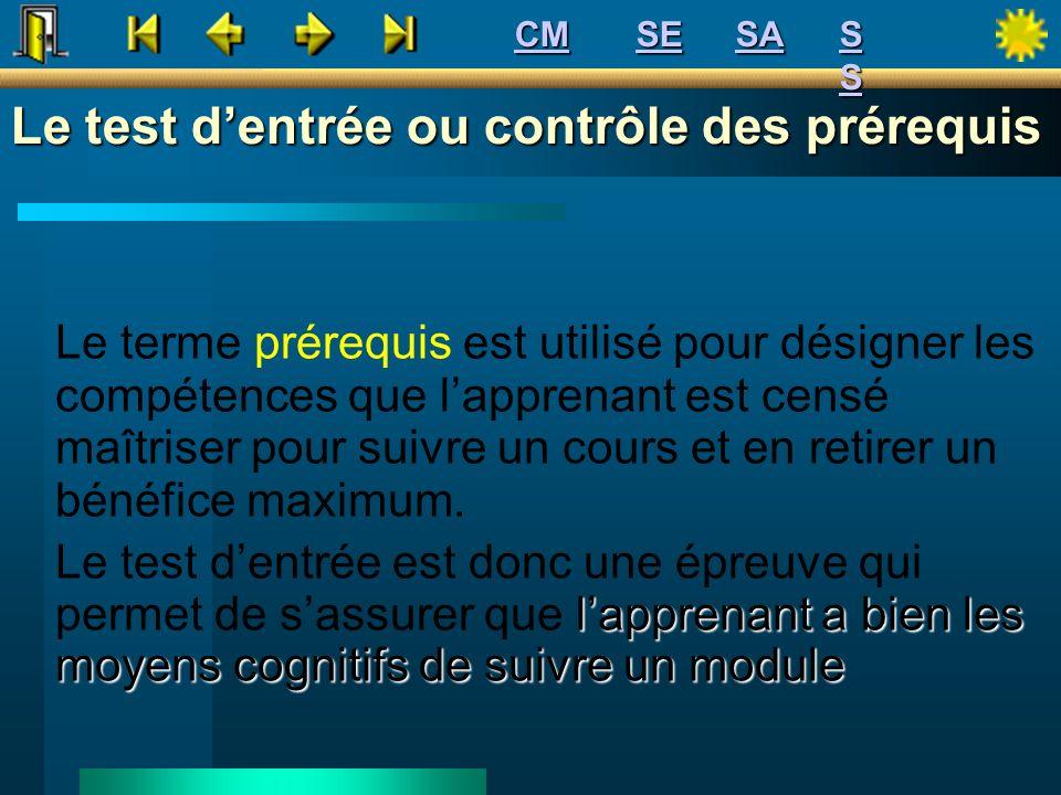 Le test dentrée ou contrôle des prérequis Le terme prérequis est utilisé pour désigner les compétences que lapprenant est censé maîtriser pour suivre