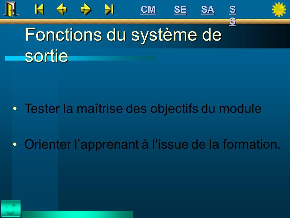 Fonctions du système de sortie Tester la maîtrise des objectifs du module Orienter lapprenant à l'issue de la formation. SE CM SSSSSSSS SA