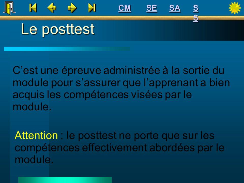 Le posttest Cest une épreuve administrée à la sortie du module pour sassurer que lapprenant a bien acquis les compétences visées par le module. Attent