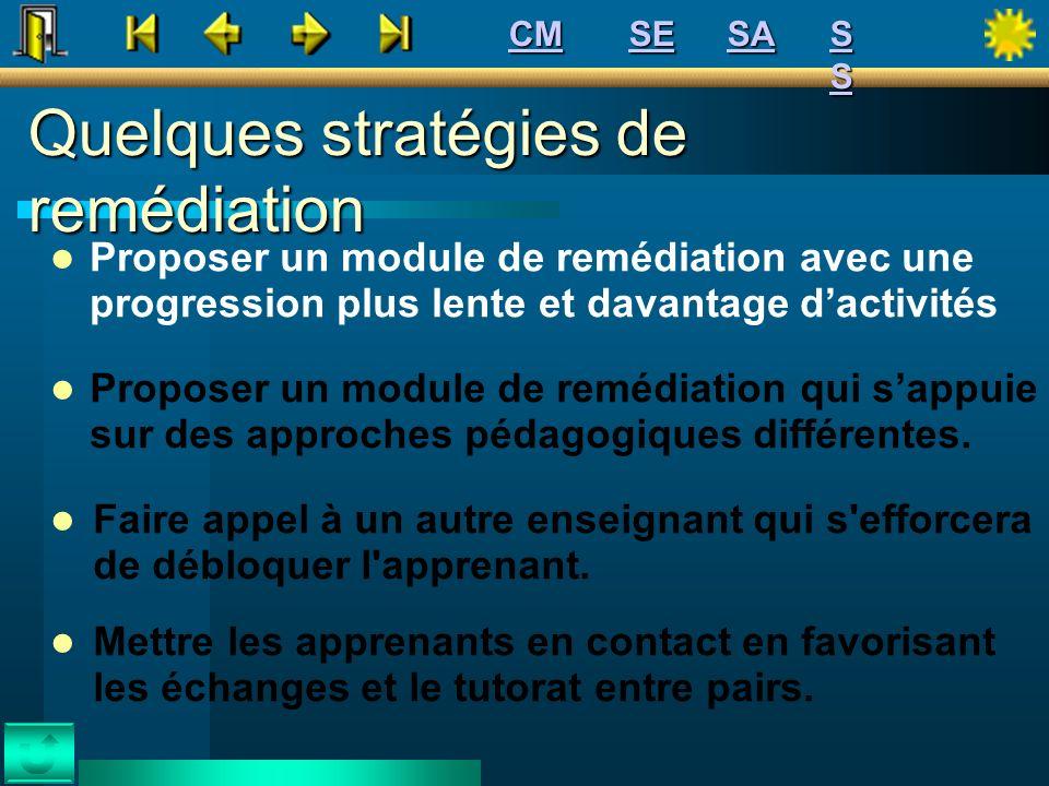 Quelques stratégies de remédiation Proposer un module de remédiation avec une progression plus lente et davantage dactivités Proposer un module de rem