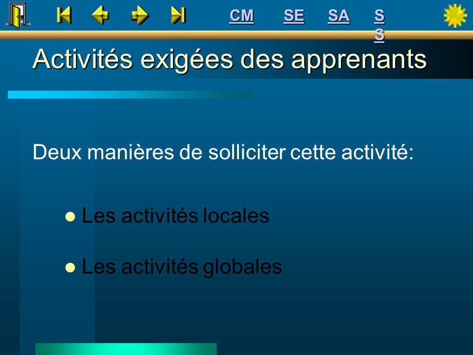 Activités exigées des apprenants Deux manières de solliciter cette activité: Les activités locales Les activités globales SE CM SSSSSSSS SA