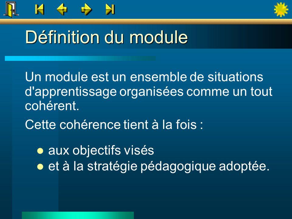 Définition du module Un module est un ensemble de situations d'apprentissage organisées comme un tout cohérent. Cette cohérence tient à la fois : aux