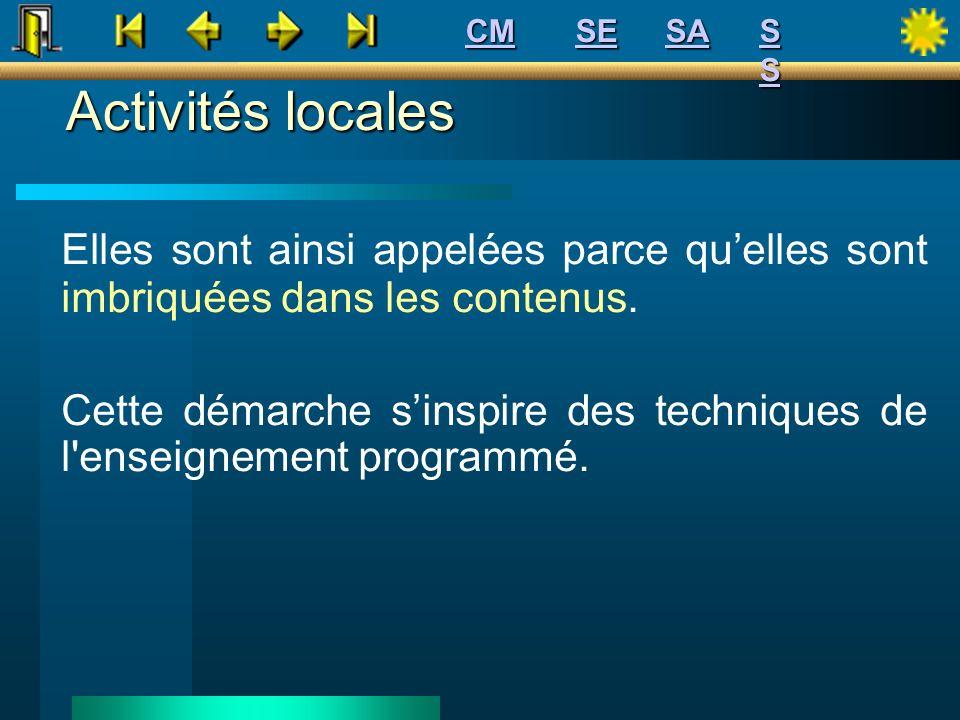 Activités locales Elles sont ainsi appelées parce quelles sont imbriquées dans les contenus. Cette démarche sinspire des techniques de l'enseignement