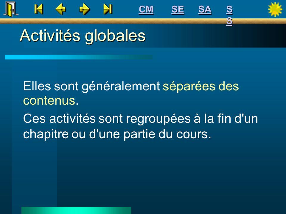 Activités globales Elles sont généralement séparées des contenus. Ces activités sont regroupées à la fin d'un chapitre ou d'une partie du cours. SE CM