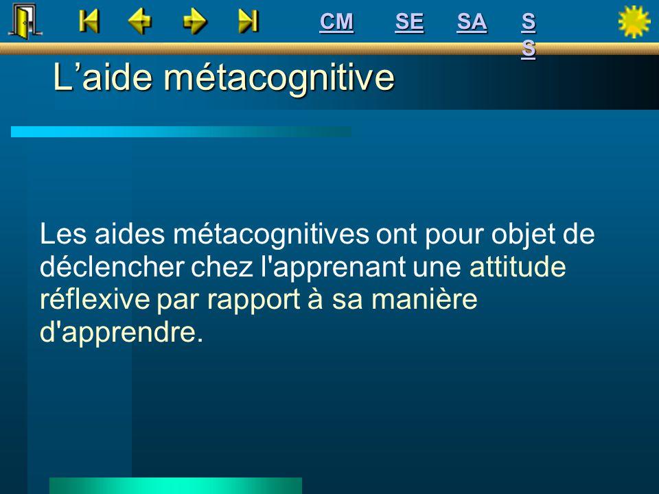 Laide métacognitive Les aides métacognitives ont pour objet de déclencher chez l'apprenant une attitude réflexive par rapport à sa manière d'apprendre