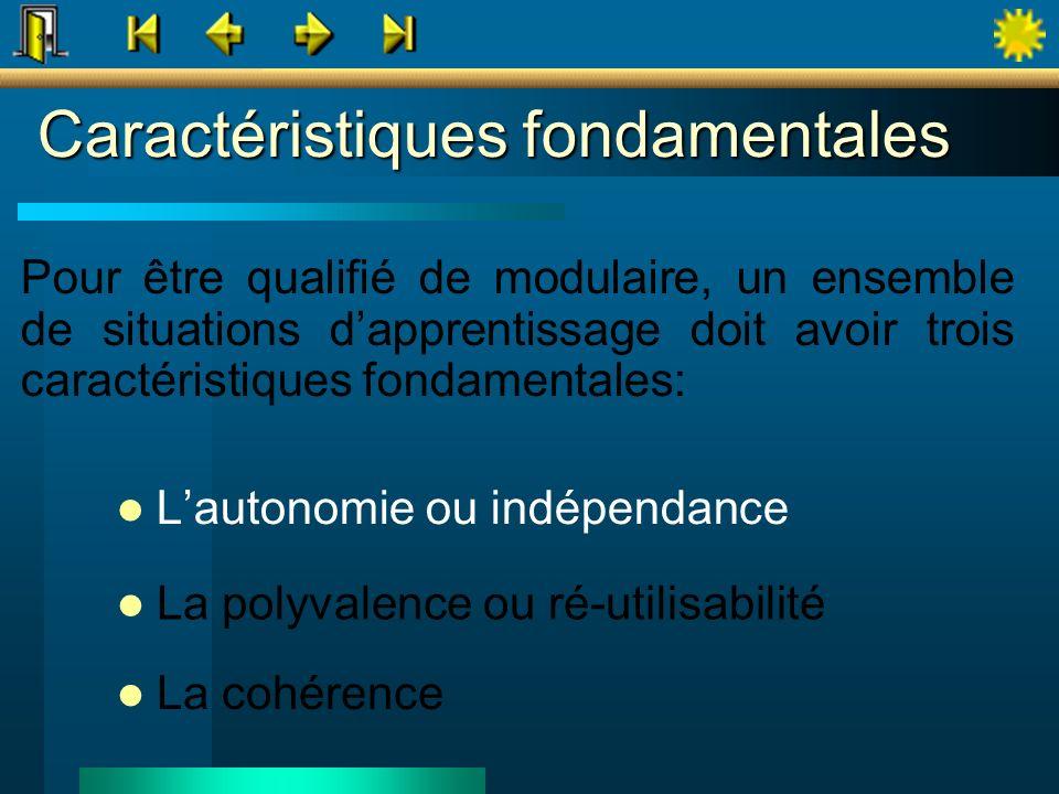 Caractéristiques fondamentales Lautonomie ou indépendance La polyvalence ou ré-utilisabilité La cohérence Pour être qualifié de modulaire, un ensemble